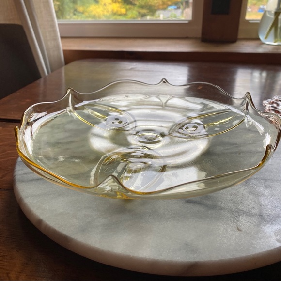 Lancaster Glass Other - Lancaster Glass Three Foot Cake Stand Yellow 1930s